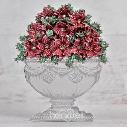Glittering Poinsettia Urn