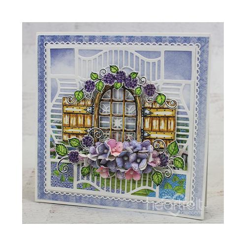 Hydrangea Window Easel Card