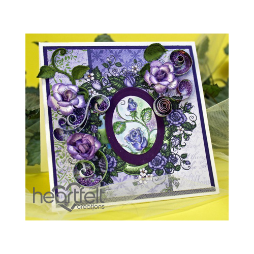 Lavender Roses And Scrolls Card