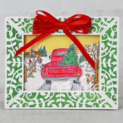 Leafy Framed Christmas Scene