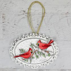 Ornamental Snowy Pines Cardinals
