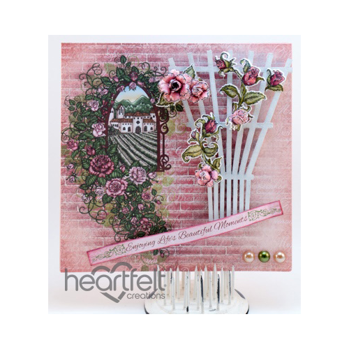 Pink Roses And White Trellis