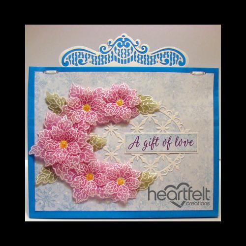 Pink Vellum Poinsettia Gift Bag