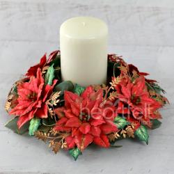 Poinsettia Candle Wreath