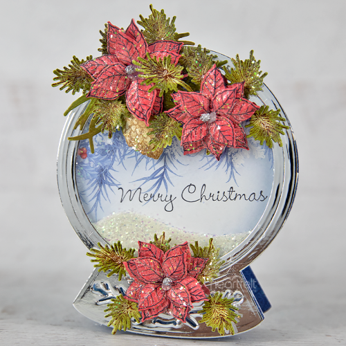 Poinsettia and Pine Snowglobe