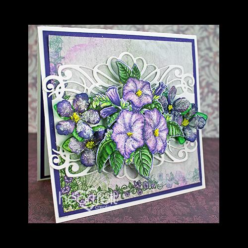 Purple Scalloped Border Petunias
