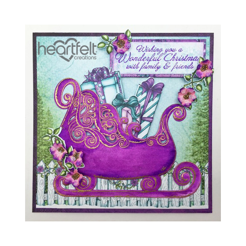 Purple Sleigh And Blooms