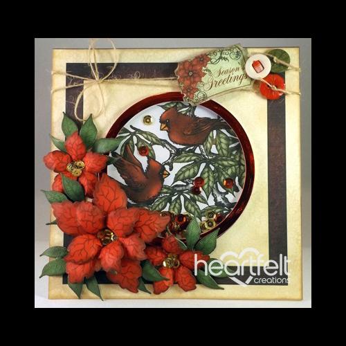 Red Poinsettias Shaker Card