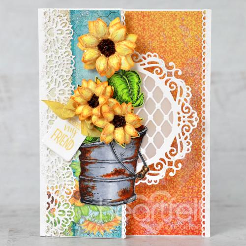 Rusty Pail Sunflowers