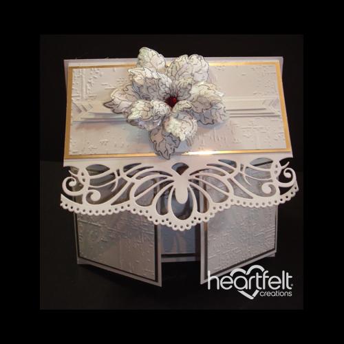 Silver Poinsettia Multi Fold Card