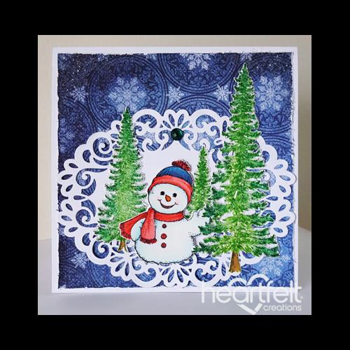 Snowman Waving Tree Scene