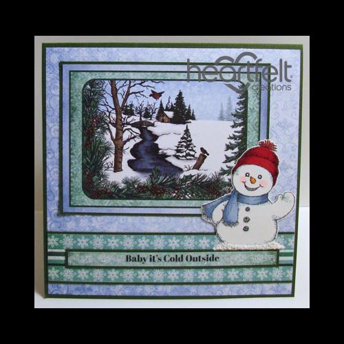 Snowy Scene And Snowman