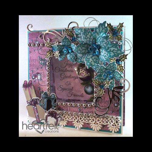 Teal Poinsettia Window Card