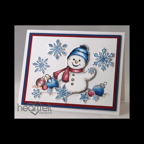 Waving Snowman And Snowflakes